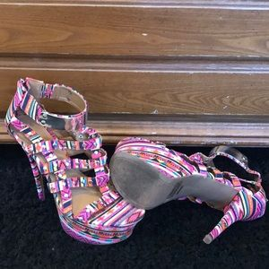 8.5 multi-color high heel sandals